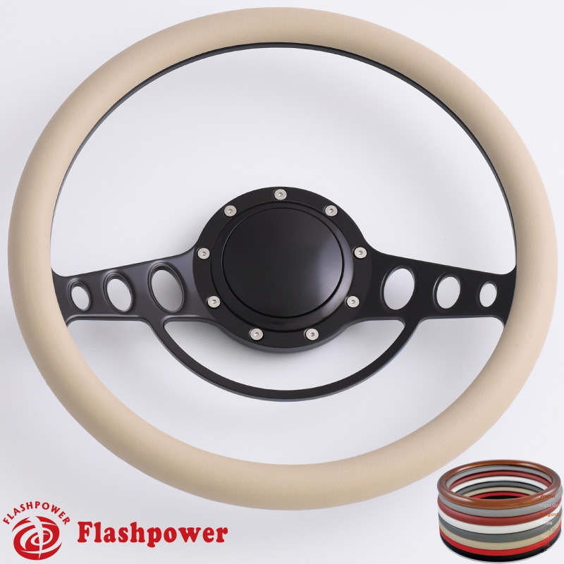 14 Black Billet Steering Wheels Half Wrap Wood Ididit Flaming River