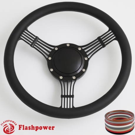 Tan Flashpower 15.5 5-String Billet Banjo Full Wrap Steering Wheel with 9 Bolts 2 Dish and Horn Button
