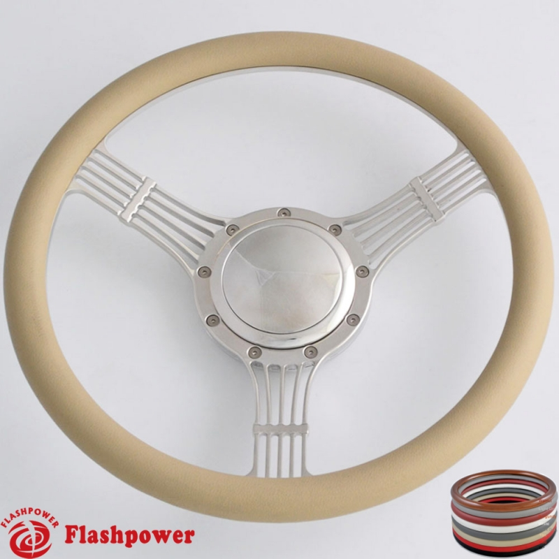 5 String Banjo 15 5 Quot Polished Billet Steering Wheel With Half Wrap And Horn Button Flashpower
