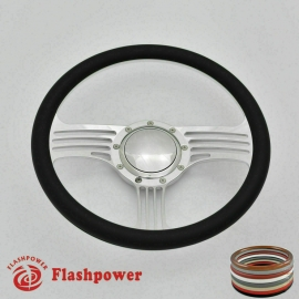 """Zephyr 14"""" Polished Billet Steering Wheel with Full Wrap and Horn Button"""