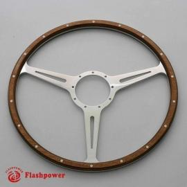 15'' Flat Laminated Wood Steering Wheel Polished