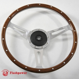 13'' Laminated Wood Steering Wheel Polished  w/ plastic horn button