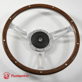 14'' Laminated Wood Steering Wheel Polished w/plastic horn button