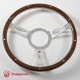 15'' Laminated Wood Steering Wheel Polished w/plastic horn button