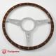 14'' Flat Laminated Wood Steering Wheel Polished
