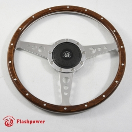 14'' Flat Laminated Wood Steering Wheel w/ plastic horn button
