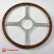 14'' Flat Four Spoke Laminated Wood Steering Wheel Polished