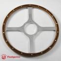 14'' Laminated Wood Steering Wheel Flat Four Spoke