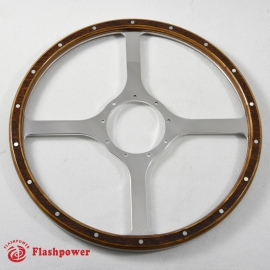 14'' Flat Four Spoke Laminated Wood Steering Wheel Polished