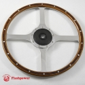 14'' Flat Four Spoke Laminated Wood Steering Wheel with horn button