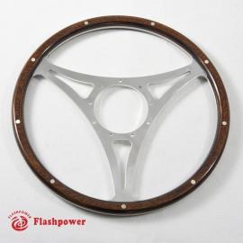 16'' Flat Laminated Wood Steering Wheel Polished