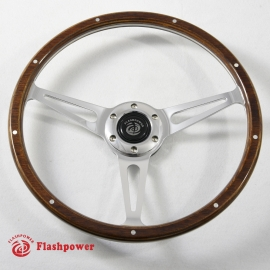 14'' Classic Wood Steering Wheel with horn button