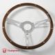 14'' Laminated Wood Steering Wheel polished
