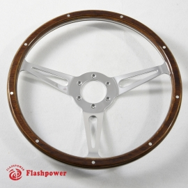 14'' Laminated Wood Steering Wheel polished