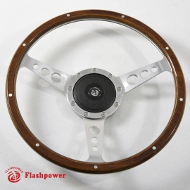 13'' Laminated Wood Steering Wheel Polished with Plastic horn button