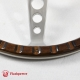 14'' Laminated Wood Steering Wheel Polished with Plastic horn button