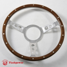 16'' Laminated Wood Steering Wheel Polished