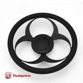 "Bio-Hazard 14"" Black Billet Steering Wheel Kit Half Wrap with Horn Button and Adapter"