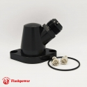 Billet Swivel Thermostat Housing Water NecK Chevy 45 Degree 16AN Black