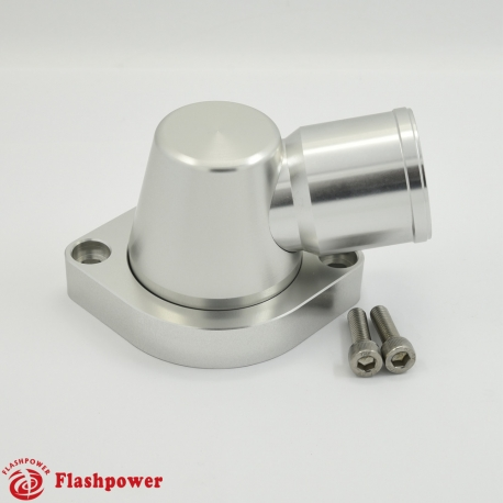 "BilletSwivelThermostatHousingsWaterNecK90 1.5"" LS Engine Clear"