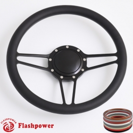 "Tridon 14"" Black Billet Steering Wheel with Half Wrap and Horn Button"