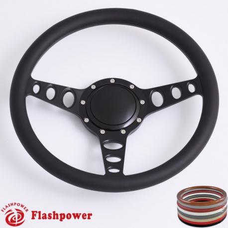 "14/"" Billet Chrome Hawk Wing Style Steering Wheel /& Half Wrap Black Leather"
