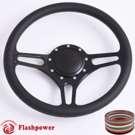 "Troika 14"" Black Billet Steering Wheel with Half Wrap and Horn Button"