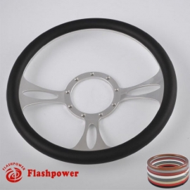 "Vectra 14"" Polished Billet Steering Wheel with Half Wrap Rim"