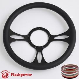"Vectra 14"" Black Billet Steering Wheel with Half Wrap Rim"
