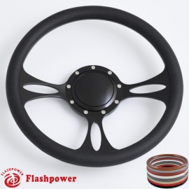 "Vectra 14"" Black Billet Steering Wheel with Half Wrap and Horn Button"