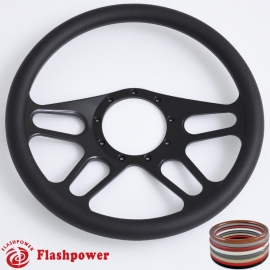 "Trickster 14"" Black Billet Steering Wheel with Half Wrap Rim"