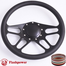 "Trickster 14"" Black Billet Steering Wheel with Half Wrap and Horn Button"