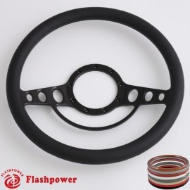 "Good Times 14"" Black Billet Steering Wheel with Half Wrap Rim"