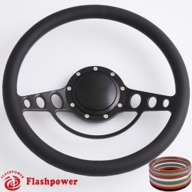 "Good Times 14"" Black Billet Steering Wheel with Half Wrap and Horn Button"