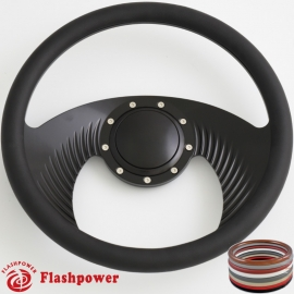 "Hawk 14"" Black Billet Steering Wheel with Half Wrap and Horn Button"