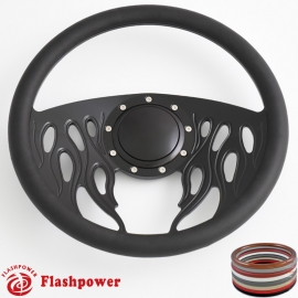 "Flames 14"" Black Billet Steering Wheel with Half Wrap and Horn Button"
