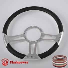 "Trinity 14"" Polished Billet Steering Wheel with Half Wrap Rim"