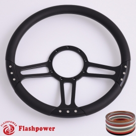 "Trinity 14"" Black Billet Steering Wheel with Half Wrap Rim"