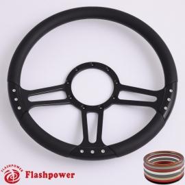 "Trinity 14"" Black Billet Steering Wheel with Half Wrap Rim"