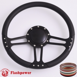 "Trinity 14"" Black Billet Steering Wheel with Half Wrap and Horn Button"