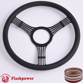 "5-String Banjo 15.5"" Black Billet Steering Wheel with Half Wrap Rim"