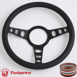 "Cruisin 15.5"" Black Billet Steering Wheel with Half Wrap Rim"