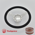 "5-String Banjo 14"" Polished Billet Steering Wheel Kit Full Wrap with Horn Button and Adapter"