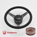 """5-String Banjo 14"""" Black Billet Steering Wheel Kit Full Wrap with Horn Button and Adapter"""