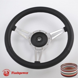 15'' Classic Wrapped Polished Steering Wheel with Black Plastic horn button