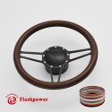 """Tridon 14"""" Black Billet Steering Wheel Kit Full Wrap with Horn Button and Adapter"""