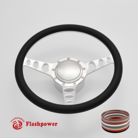 "Cruisin 14"" Satin Billet Steering Wheel Kit Half Wrap with Horn Button and Adapter"