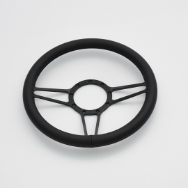 "Tridon 14"" Black Billet Steering Wheel with Full Leather Wrap"