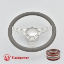 """Cruisin 14"""" Polished Billet Steering Wheel Kit Full Wrap with Horn Button and Adapter"""