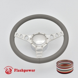 "Cruisin 14"" Polished Billet Steering Wheel Kit Full Wrap with Horn Button and Adapter"